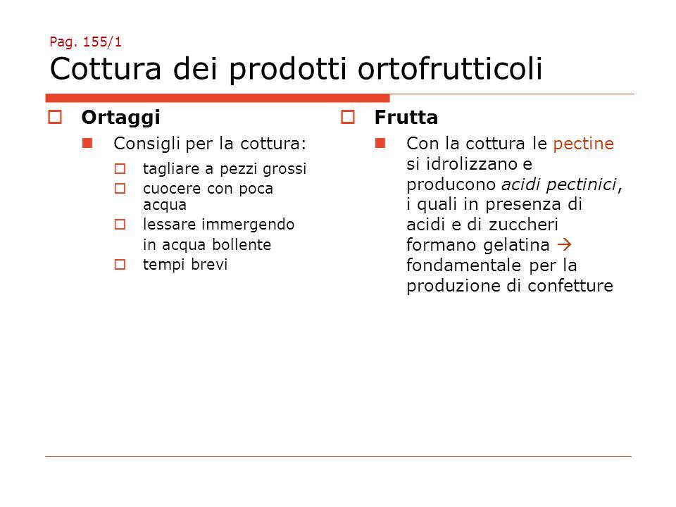 Pag. 155/1 Cottura dei prodotti ortofrutticoli  Ortaggi Consigli per la cottura:  tagliare a pezzi grossi  cuocere con poca acqua  lessare immerge