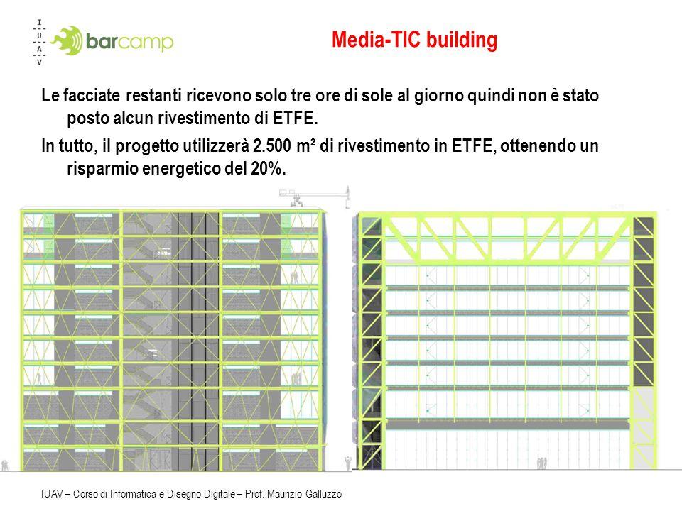 Media-TIC building Le facciate restanti ricevono solo tre ore di sole al giorno quindi non è stato posto alcun rivestimento di ETFE.