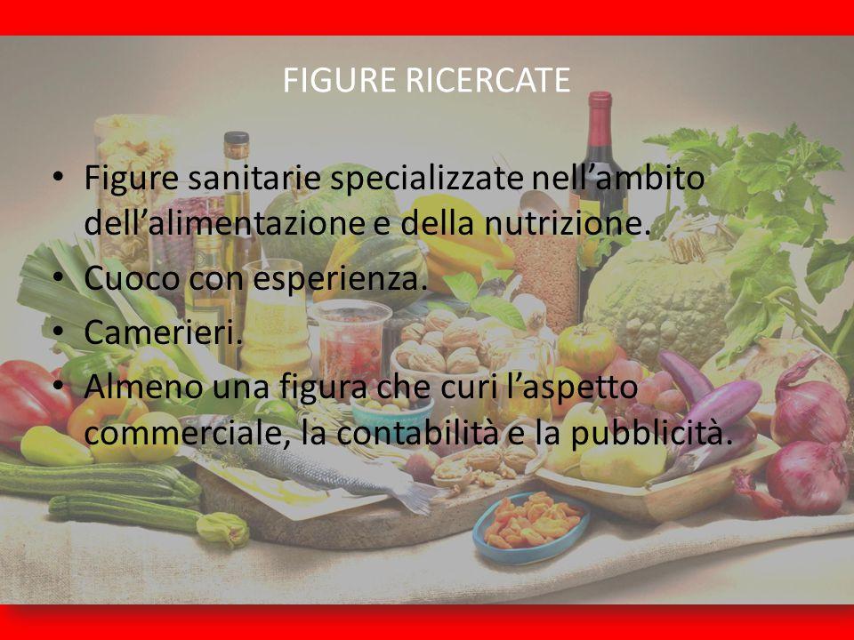 FIGURE RICERCATE Figure sanitarie specializzate nell'ambito dell'alimentazione e della nutrizione. Cuoco con esperienza. Camerieri. Almeno una figura