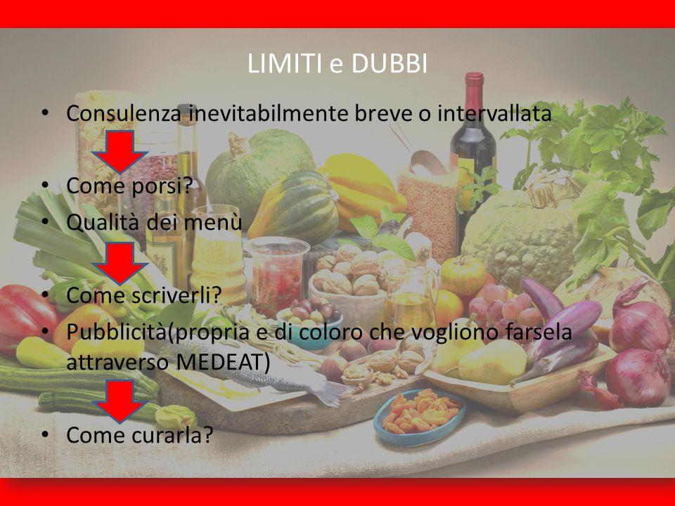 LIMITI e DUBBI Consulenza inevitabilmente breve o intervallata Come porsi? Qualità dei menù Come scriverli? Pubblicità(propria e di coloro che voglion