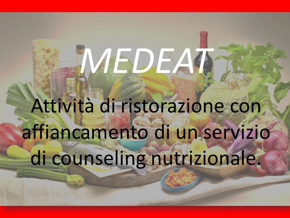 MEDEAT Attività di ristorazione con affiancamento di un servizio di counseling nutrizionale.