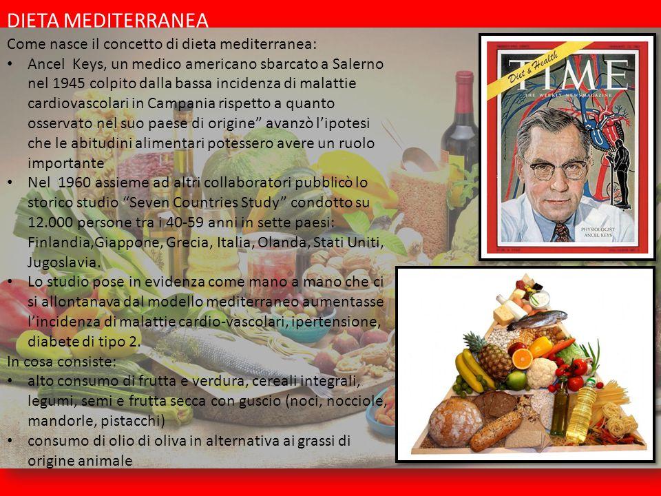 DIETA MEDITERRANEA Come nasce il concetto di dieta mediterranea: Ancel Keys, un medico americano sbarcato a Salerno nel 1945 colpito dalla bassa incid