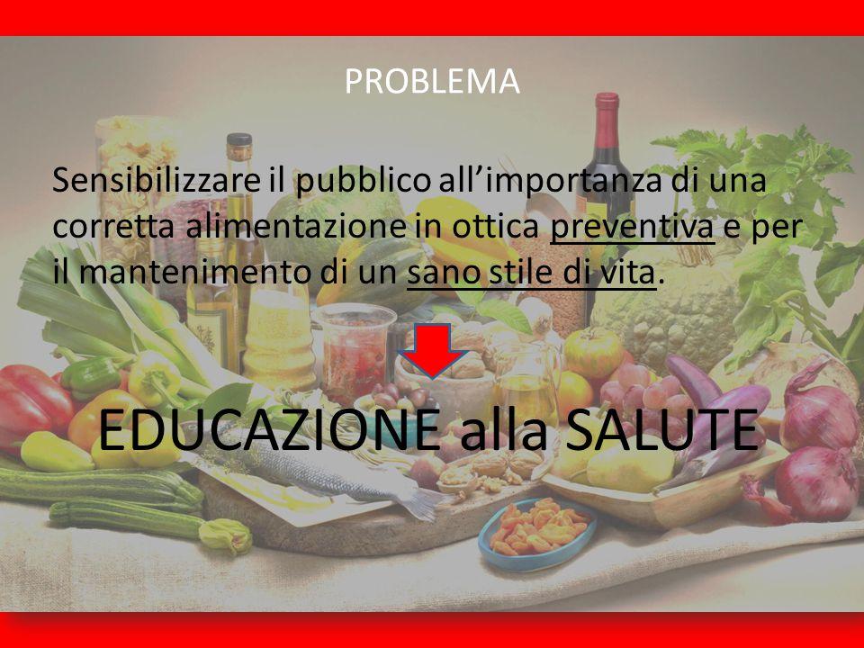 PROBLEMA Sensibilizzare il pubblico all'importanza di una corretta alimentazione in ottica preventiva e per il mantenimento di un sano stile di vita.