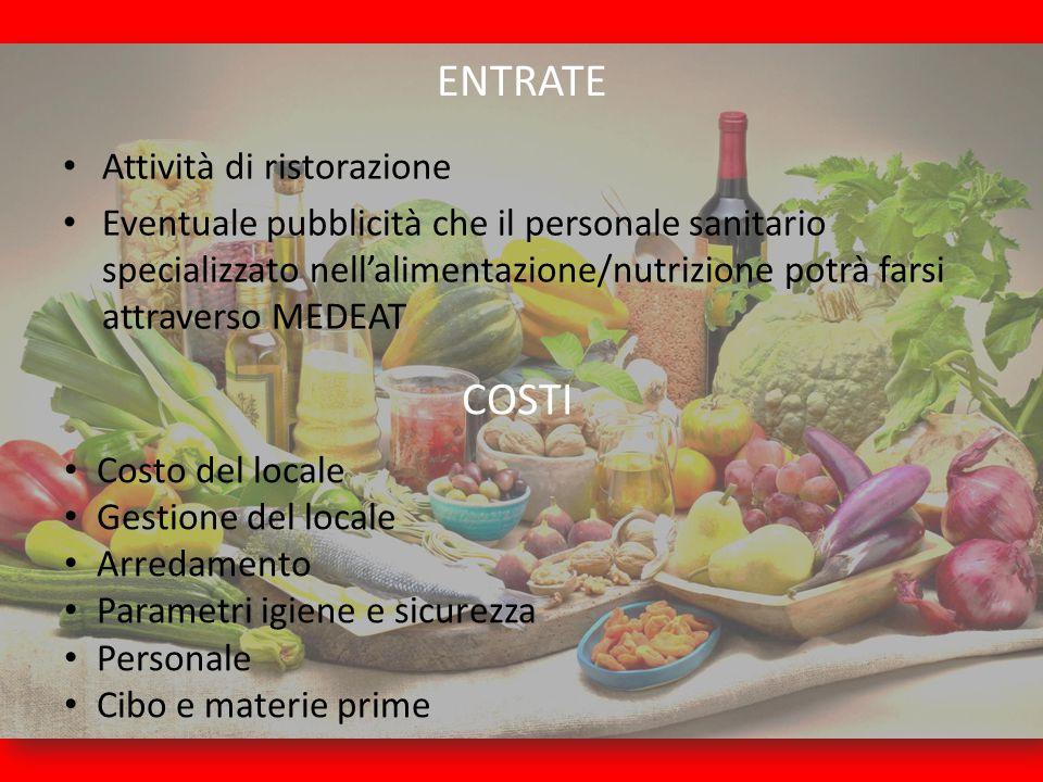 ENTRATE Attività di ristorazione Eventuale pubblicità che il personale sanitario specializzato nell'alimentazione/nutrizione potrà farsi attraverso ME
