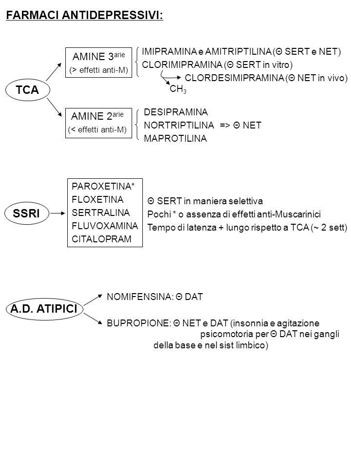 FARMACI ANTIDEPRESSIVI: TCA SSRI A.D. ATIPICI AMINE 3 arie (> effetti anti-M) AMINE 2 arie (< effetti anti-M) IMIPRAMINA e AMITRIPTILINA (Θ SERT e NET
