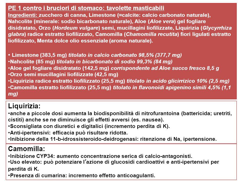 PE 1 contro i bruciori di stomaco: tavolette masticabili Ingredienti: zucchero di canna, Limestone (=calcite: calcio carbonato naturale), Nahcolite (minerale: sodio bicarbonato naturale), Aloe (Aloe vera) gel fogliare disidratato, Orzo (Hordeum vulgare) semi, mucillagini liofilizzate, Liquirizia (Glycyrrhiza glabra) radice estratto liofilizzato, Camomilla (Chamomilla recutita) fiori ligulati estratto liofilizzato, Menta dolce olio essenziale (aroma naturale).