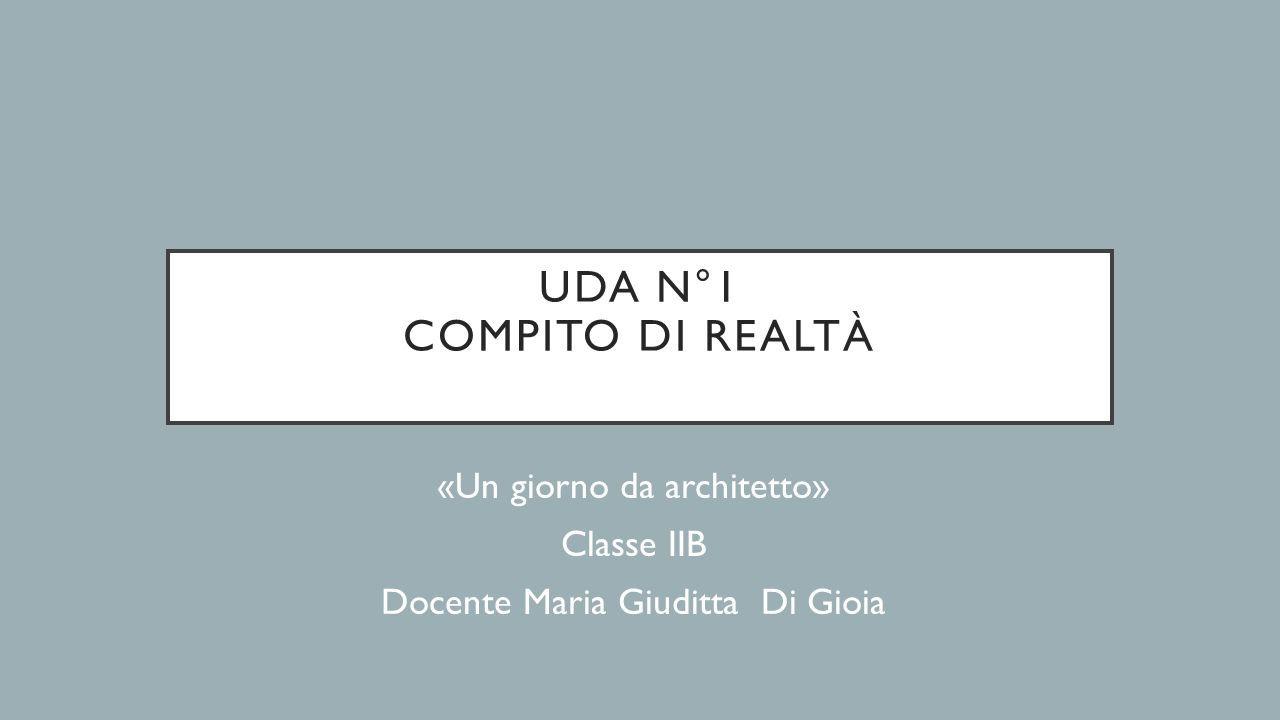 UDA N°1 COMPITO DI REALTÀ «Un giorno da architetto» Classe IIB Docente Maria Giuditta Di Gioia