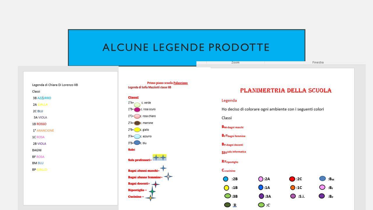 ALCUNE LEGENDE PRODOTTE