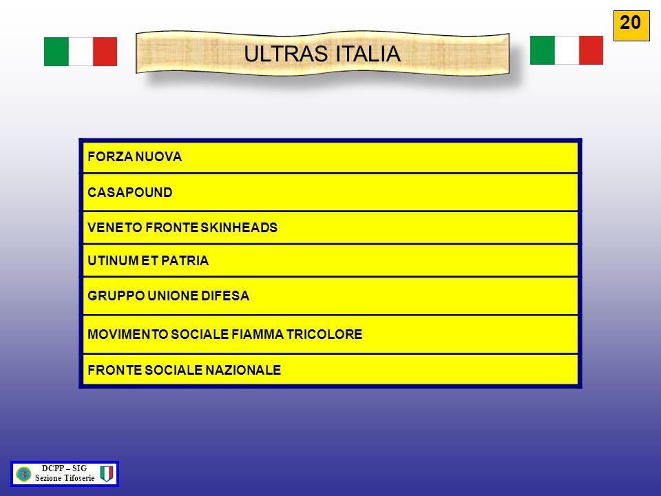 ULTRAS ITALIA FORZA NUOVA CASAPOUND VENETO FRONTE SKINHEADS UTINUM ET PATRIA GRUPPO UNIONE DIFESA MOVIMENTO SOCIALE FIAMMA TRICOLORE FRONTE SOCIALE NA