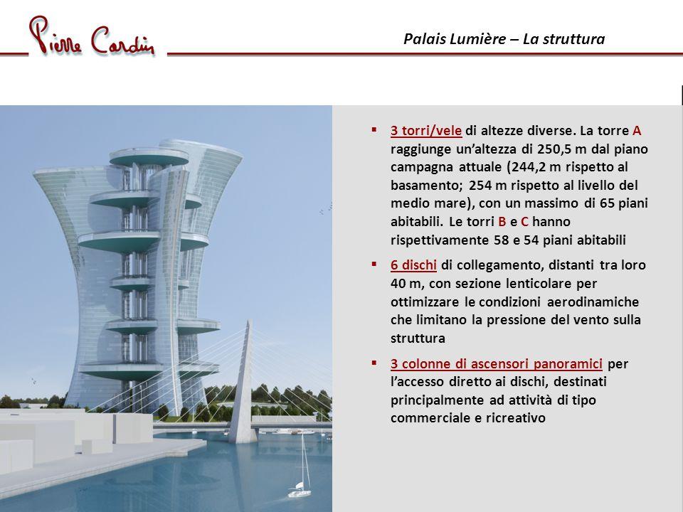 Palais Lumière – La struttura 3 torri/vele di altezze diverse.
