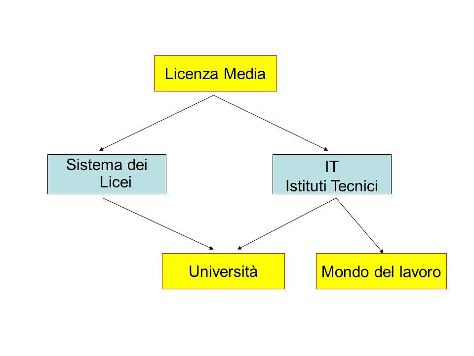 Licenza Media Sistema dei Licei IT Istituti Tecnici UniversitàMondo del lavoro