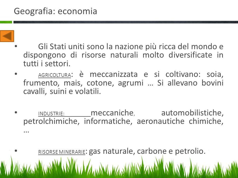 Geografia: economia Gli Stati uniti sono la nazione più ricca del mondo e dispongono di risorse naturali molto diversificate in tutti i settori. AGRIC