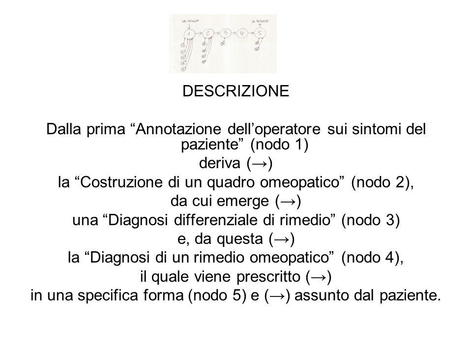 DESCRIZIONE Dalla prima Annotazione delloperatore sui sintomi del paziente (nodo 1) deriva () la Costruzione di un quadro omeopatico (nodo 2), da cui emerge () una Diagnosi differenziale di rimedio (nodo 3) e, da questa () la Diagnosi di un rimedio omeopatico (nodo 4), il quale viene prescritto () in una specifica forma (nodo 5) e () assunto dal paziente.