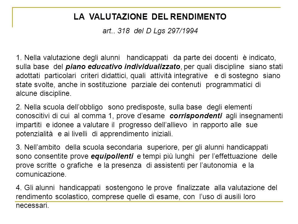 LA VALUTAZIONE DEL RENDIMENTO art.. 318 del D Lgs 297/1994 1. Nella valutazione degli alunni handicappati da parte dei docenti è indicato, sulla base