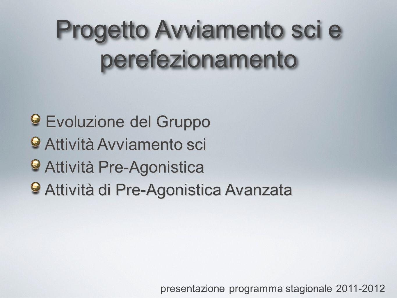 Progetto Avviamento sci e perefezionamento presentazione programma stagionale 2011-2012 Evoluzione del Gruppo Attività Avviamento sci Attività Pre-Agonistica Attività di Pre-Agonistica Avanzata