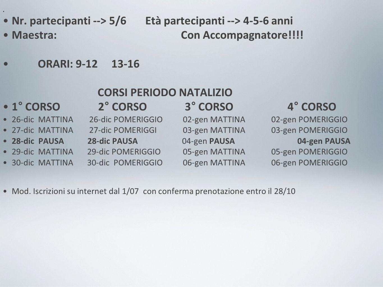 Nr.partecipanti --> 5/6 Età partecipanti --> 4-5-6 anni Maestra: Con Accompagnatore!!!.