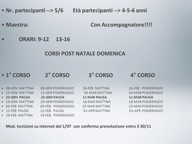 Nr. partecipanti --> 5/6 Età partecipanti --> 4-5-6 anni Maestra: Con Accompagnatore!!!.