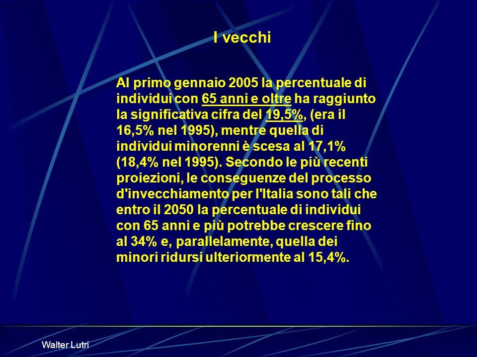 Walter Lutri Al primo gennaio 2005 la percentuale di individui con 65 anni e oltre ha raggiunto la significativa cifra del 19,5%, (era il 16,5% nel 19