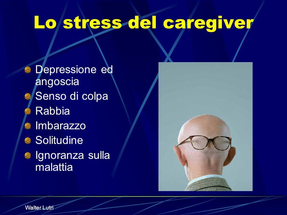 Walter Lutri Lo stress del caregiver Depressione ed angoscia Senso di colpa Rabbia Imbarazzo Solitudine Ignoranza sulla malattia