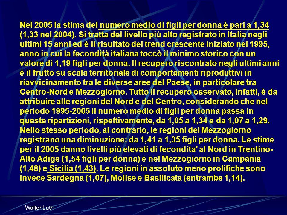 Walter Lutri Nel 2005 la stima del numero medio di figli per donna è pari a 1,34 (1,33 nel 2004). Si tratta del livello più alto registrato in Italia