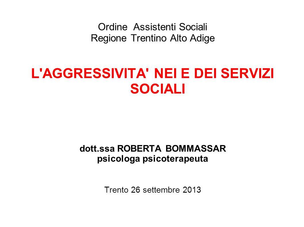 Ordine Assistenti Sociali Regione Trentino Alto Adige L'AGGRESSIVITA' NEI E DEI SERVIZI SOCIALI dott.ssa ROBERTA BOMMASSAR psicologa psicoterapeuta Tr