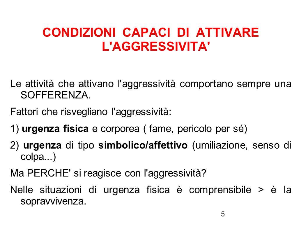 5 CONDIZIONI CAPACI DI ATTIVARE L'AGGRESSIVITA' Le attività che attivano l'aggressività comportano sempre una SOFFERENZA. Fattori che risvegliano l'ag