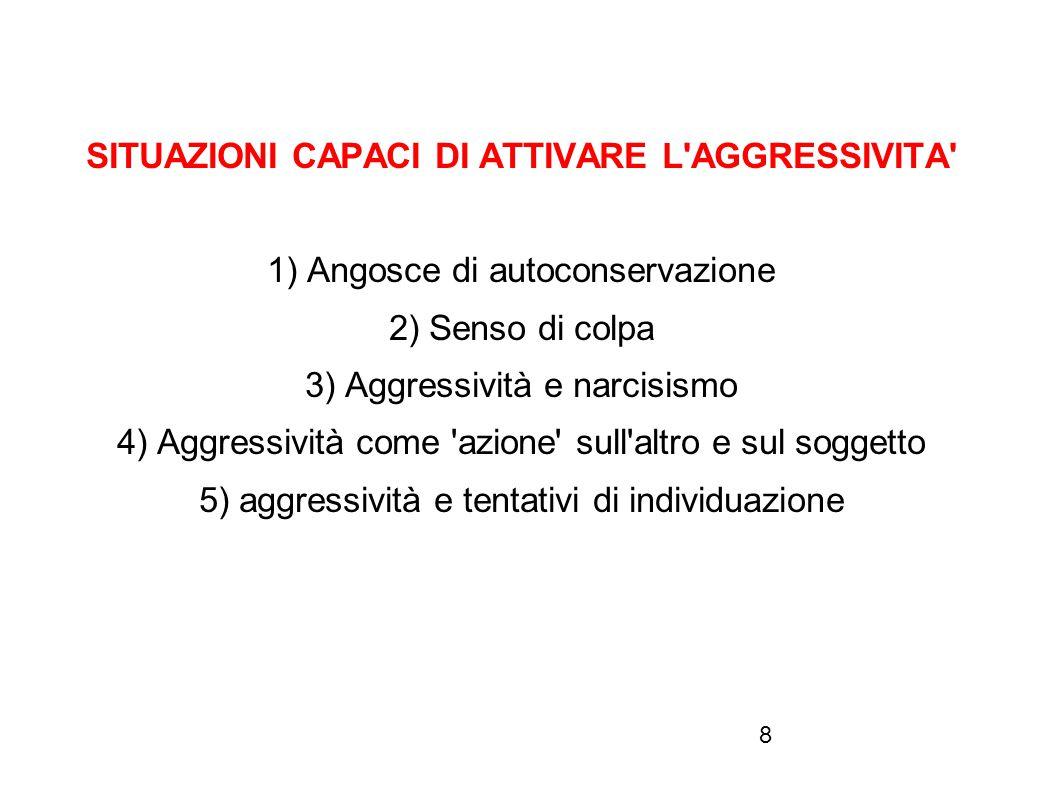 8 SITUAZIONI CAPACI DI ATTIVARE L'AGGRESSIVITA' 1) Angosce di autoconservazione 2) Senso di colpa 3) Aggressività e narcisismo 4) Aggressività come 'a