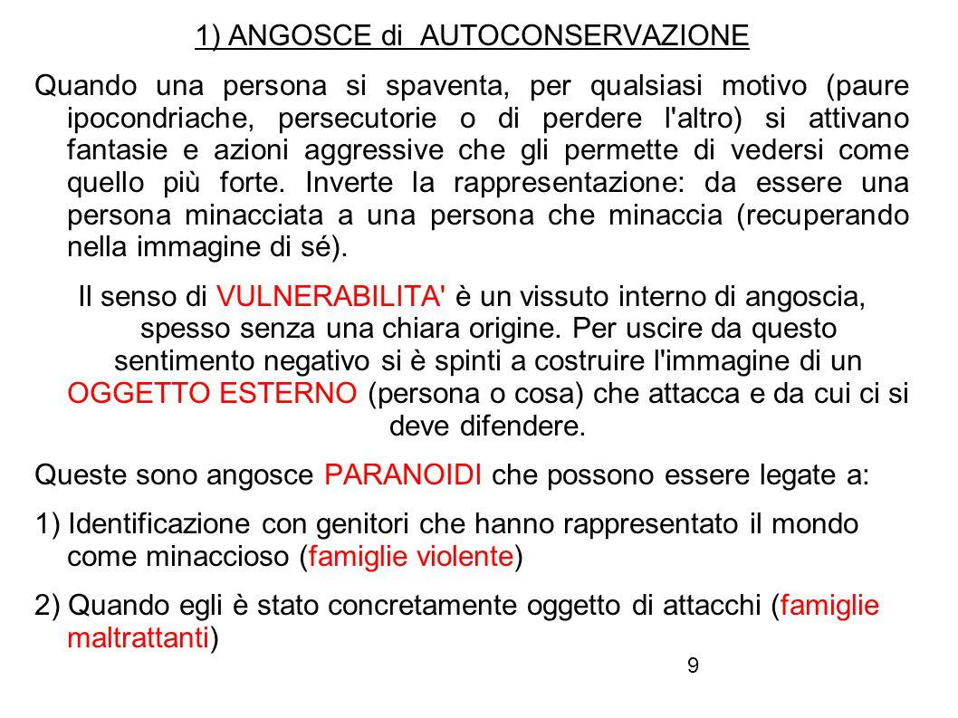 9 1) ANGOSCE di AUTOCONSERVAZIONE Quando una persona si spaventa, per qualsiasi motivo (paure ipocondriache, persecutorie o di perdere l'altro) si att
