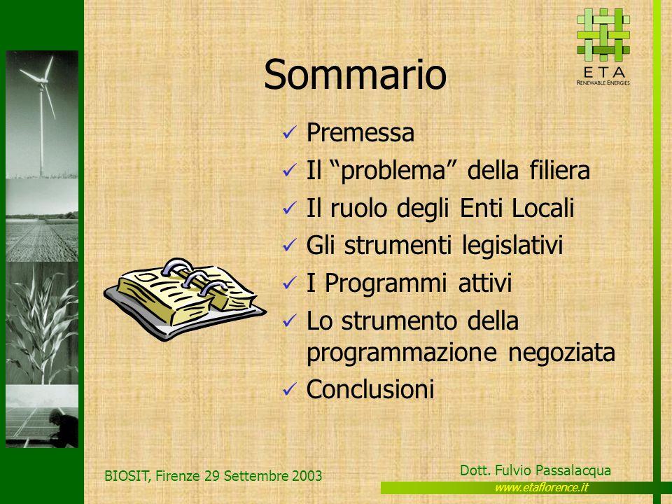 www.etaflorence.it Dott. Fulvio Passalacqua BIOSIT, Firenze 29 Settembre 2003 Sommario Premessa Il problema della filiera Il ruolo degli Enti Locali G