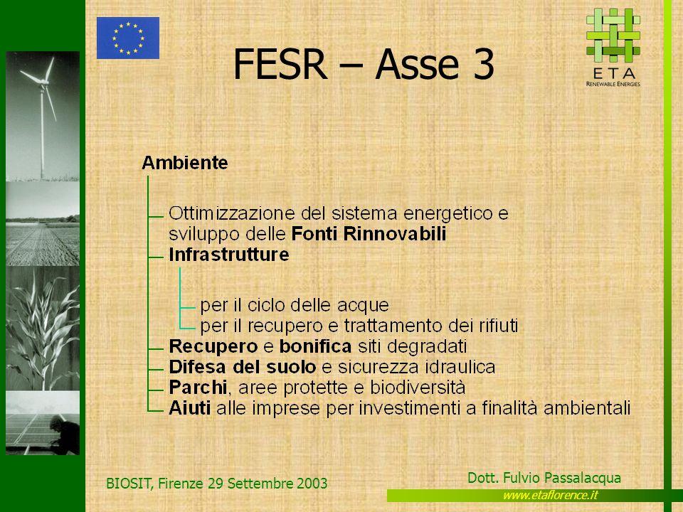 www.etaflorence.it Dott. Fulvio Passalacqua BIOSIT, Firenze 29 Settembre 2003 FESR – Asse 3
