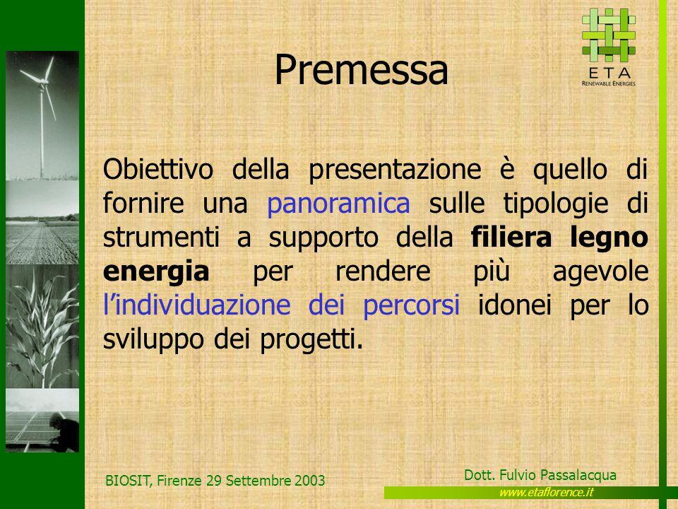 www.etaflorence.it Dott. Fulvio Passalacqua BIOSIT, Firenze 29 Settembre 2003 Premessa Obiettivo della presentazione è quello di fornire una panoramic