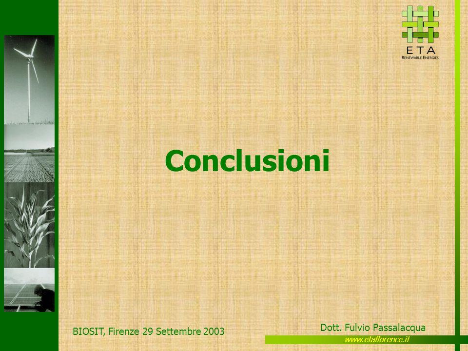 www.etaflorence.it Dott. Fulvio Passalacqua BIOSIT, Firenze 29 Settembre 2003 Conclusioni