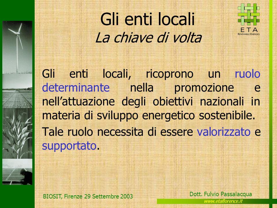 www.etaflorence.it Dott. Fulvio Passalacqua BIOSIT, Firenze 29 Settembre 2003 Gli enti locali La chiave di volta Gli enti locali, ricoprono un ruolo d