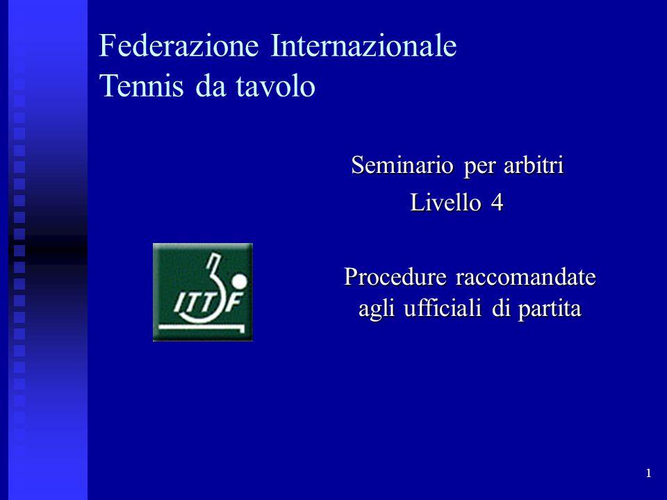 1 Federazione Internazionale Tennis da tavolo Seminario per arbitri Livello 4 Procedure raccomandate agli ufficiali di partita