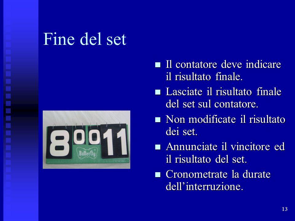 13 Fine del set Il contatore deve indicare il risultato finale.