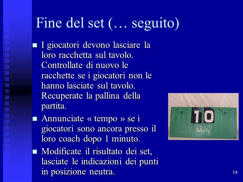 14 Fine del set (… seguito) I giocatori devono lasciare la loro racchetta sul tavolo.