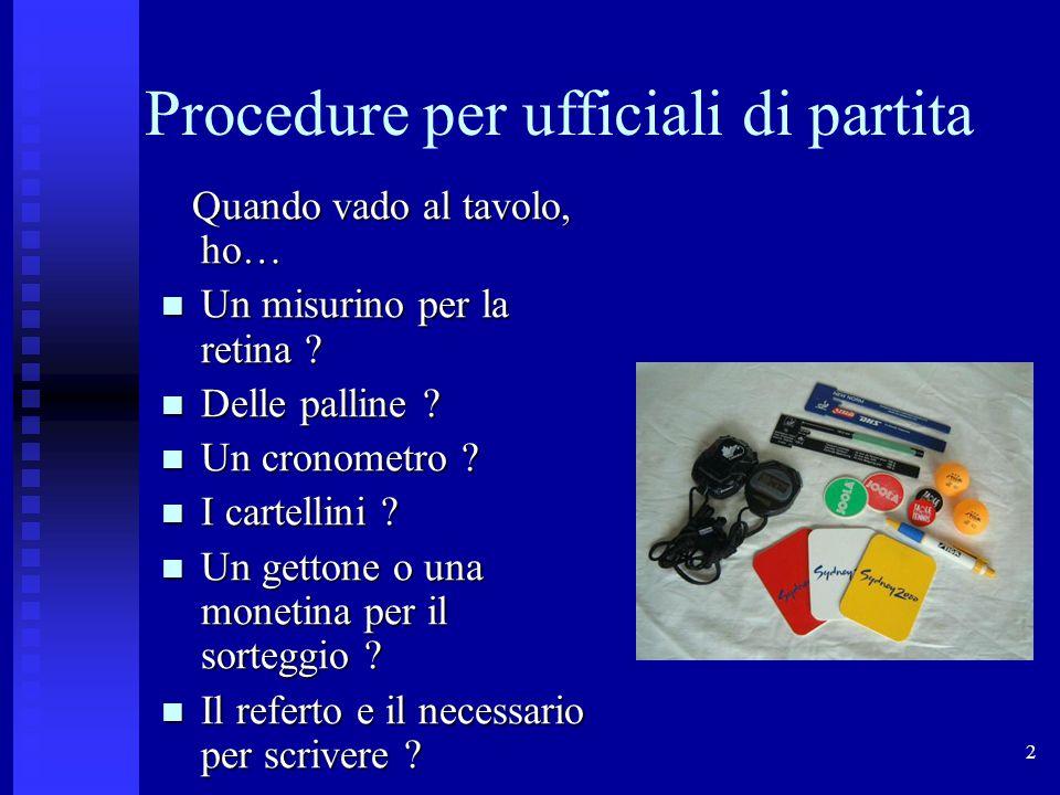 2 Procedure per ufficiali di partita Quando vado al tavolo, ho… Quando vado al tavolo, ho… Un misurino per la retina .