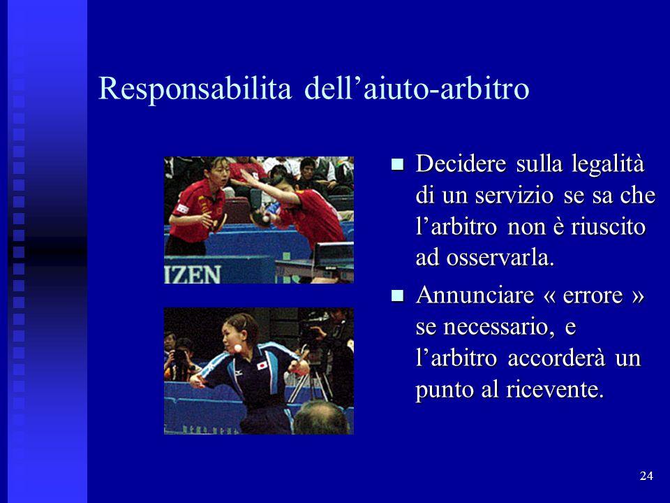 24 Responsabilita dellaiuto-arbitro Decidere sulla legalità di un servizio se sa che larbitro non è riuscito ad osservarla.
