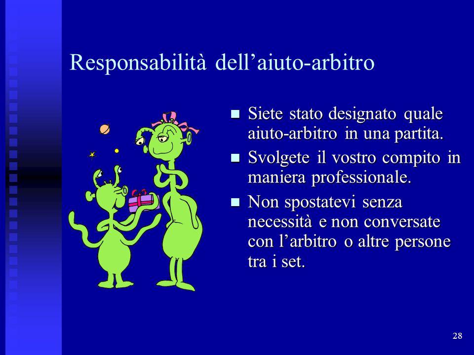 28 Responsabilità dellaiuto-arbitro Siete stato designato quale aiuto-arbitro in una partita.