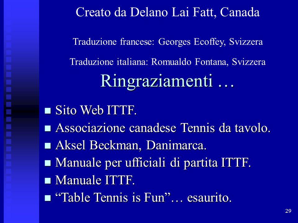 29 Creato da Delano Lai Fatt, Canada Traduzione francese: Georges Ecoffey, Svizzera Traduzione italiana: Romualdo Fontana, Svizzera Ringraziamenti … Sito Web ITTF.