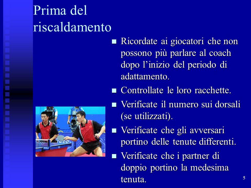 6 Scelta della pallina I giocatori dovrebbero scegliere la pallina prima dellinizio del periodo di adattamento.