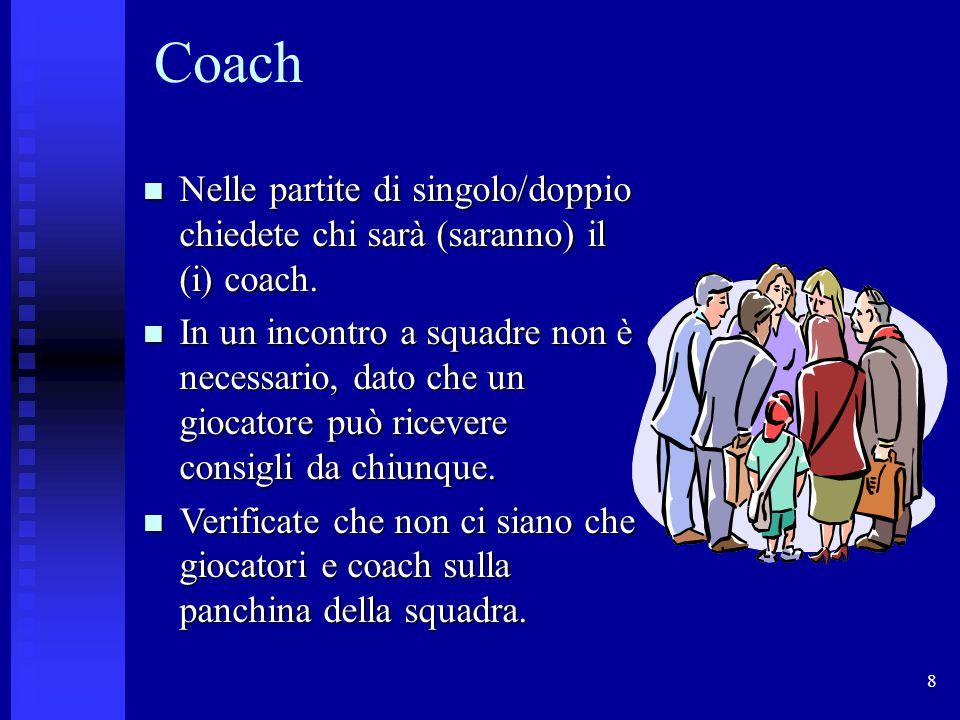 8 Coach Nelle partite di singolo/doppio chiedete chi sarà (saranno) il (i) coach.
