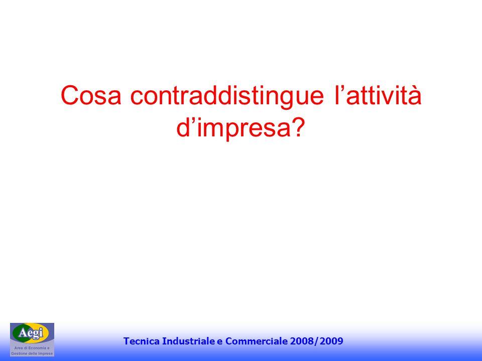 Tecnica Industriale e Commerciale 2008/2009 Cosa contraddistingue lattività dimpresa?