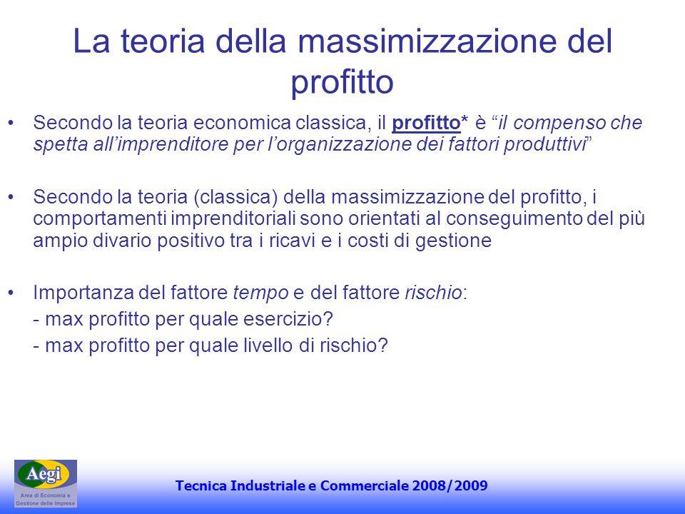 Tecnica Industriale e Commerciale 2008/2009 La teoria della massimizzazione del profitto Secondo la teoria economica classica, il profitto* è il compe
