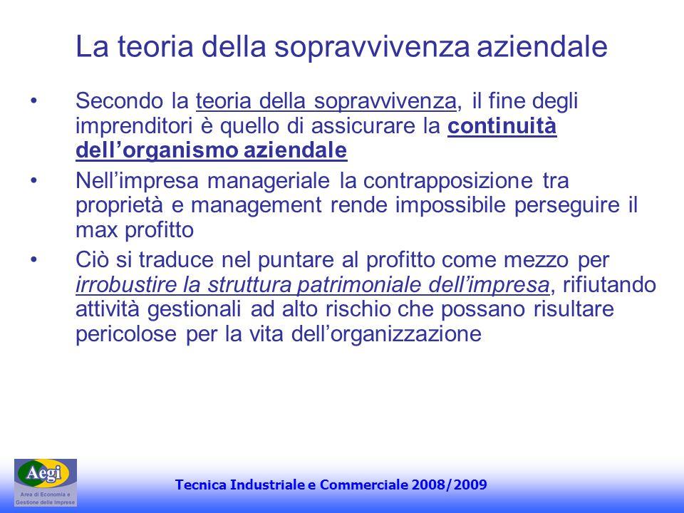 Tecnica Industriale e Commerciale 2008/2009 La teoria della sopravvivenza aziendale Secondo la teoria della sopravvivenza, il fine degli imprenditori