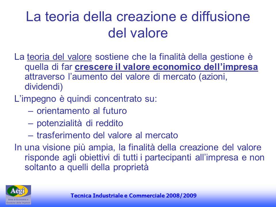 Tecnica Industriale e Commerciale 2008/2009 La teoria della creazione e diffusione del valore La teoria del valore sostiene che la finalità della gest