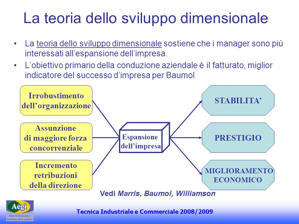 Tecnica Industriale e Commerciale 2008/2009 La teoria dello sviluppo dimensionale sostiene che i manager sono più interessati allespansione dellimpres