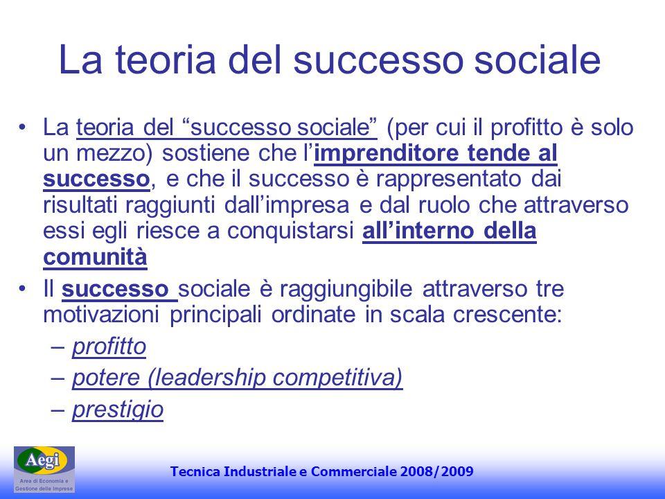 Tecnica Industriale e Commerciale 2008/2009 La teoria del successo sociale La teoria del successo sociale (per cui il profitto è solo un mezzo) sostie