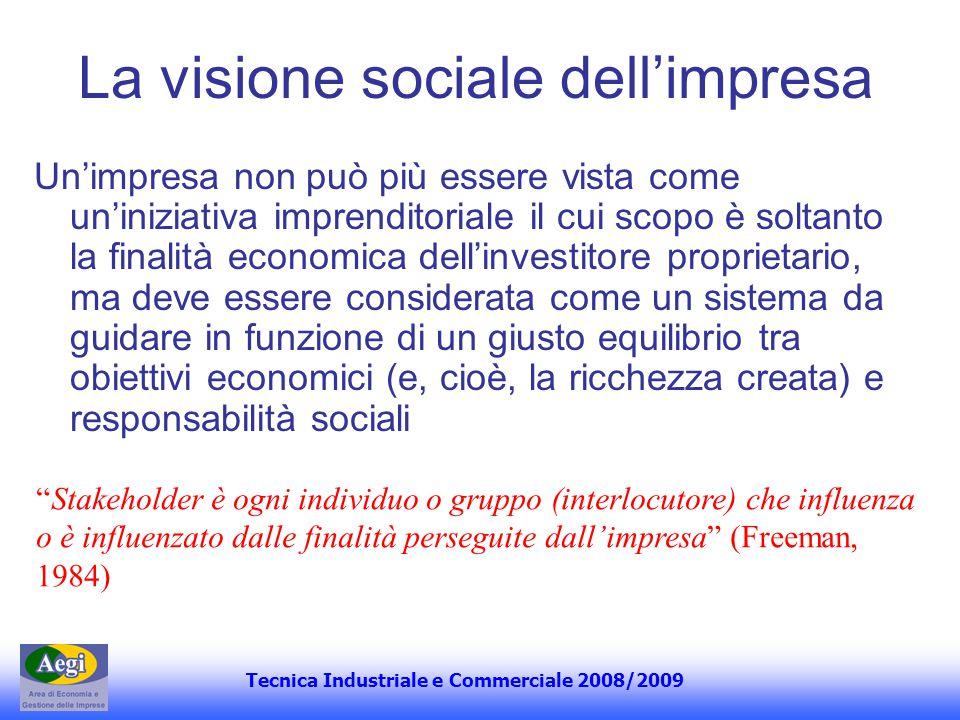 Tecnica Industriale e Commerciale 2008/2009 La visione sociale dellimpresa Unimpresa non può più essere vista come uniniziativa imprenditoriale il cui
