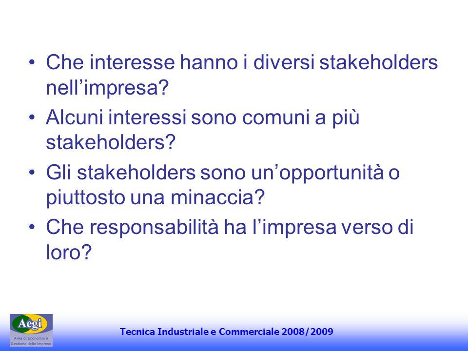 Tecnica Industriale e Commerciale 2008/2009 Che interesse hanno i diversi stakeholders nellimpresa? Alcuni interessi sono comuni a più stakeholders? G